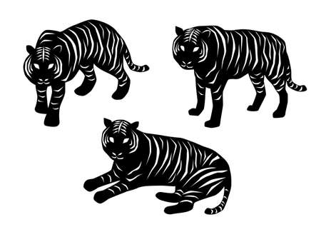 Vector illustration of tiger collection. Black and white.