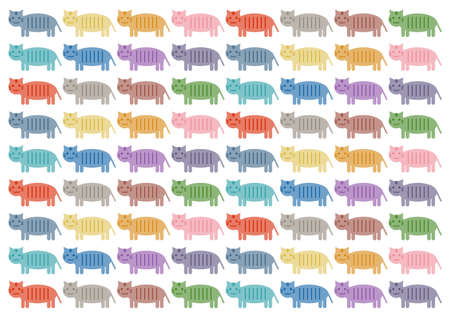 Vector illustration of cat or tiger. Cute design. Colorful pattern.