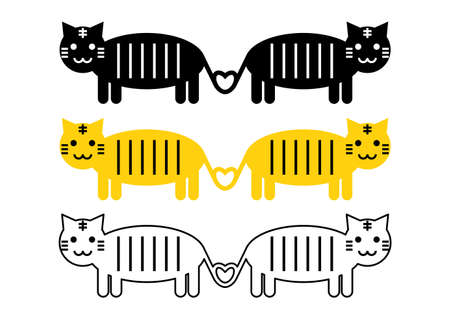 Vector illustration of cat or tiger. Heart-shaped tail. Cute design. Icons set. Illustration