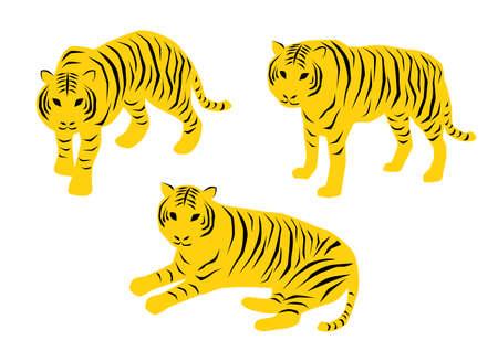 Vector illustration of tiger collection. Illustration