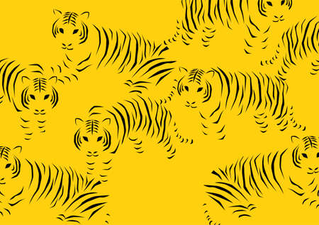 Vector illustration of tiger. Simple design pattern on yellow background.