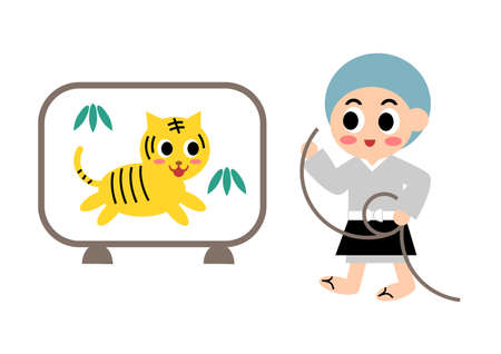 Vector illustration of Ikkyu and tiger: Well-known folktale in Japan Illustration