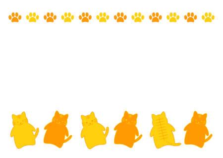 Tiger or cat, and paw prints. Vector illustration. Frame design.