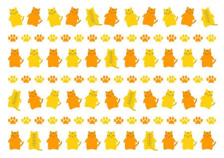 Tiger or cat, and paw prints. Vector illustration. Background pattern. Illustration
