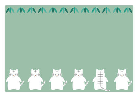 White tiger or cat, and leaves. Vector illustration. Frame design.