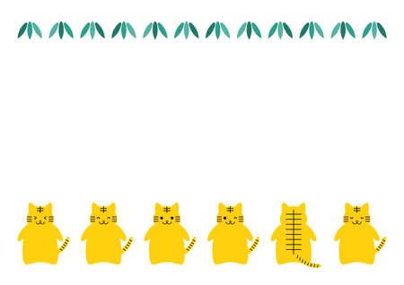 Tiger or cat, and leaves. Vector illustration. Frame design.