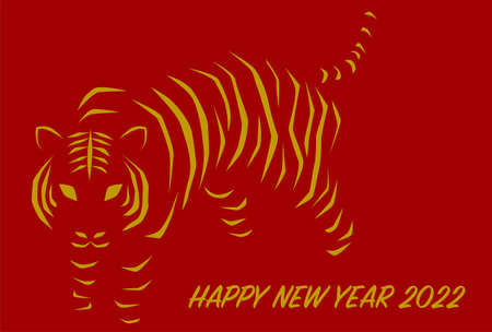 2022 New Year's card. Year of the Tiger. Vector illustration. Gold striped tiger. Red background. Simple design.
