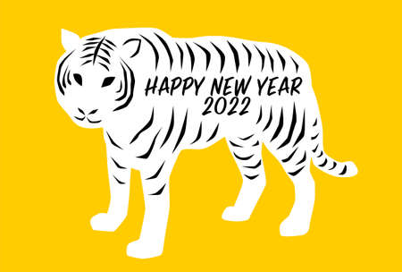 2022 New Year's card. Year of the Tiger. Vector illustration. White tiger on yellow background. Simple design.