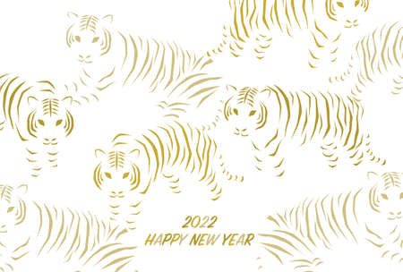 2022 New Year's card. Year of the Tiger. Vector illustration. Striped tiger design. White background.