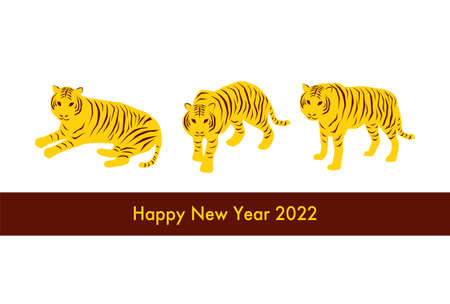 2022 New Year's card. Year of the Tiger. Vector illustration. Three tigers. Simple design. White background.