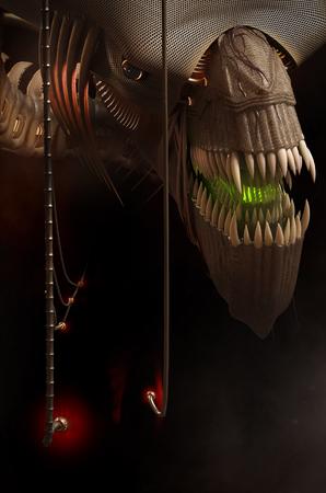 aggressively: il mostro fantastico guarda aggressivo verso di noi