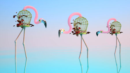 aviary: Surrealistic Flamingos Stand in Water. Around The Water, a Flamingo Made of Birdcages