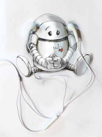 Painted on a White Paper Robot Listens to Music in realistic headphones photo
