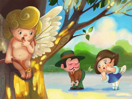 discomfiture: Cupid missed and hides behind a tree. Cupids arrow hit the man in the ass.
