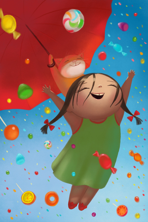 Illustration of A cute young girl and red cat holds an umbrella and flying while colorful candies rain down on them