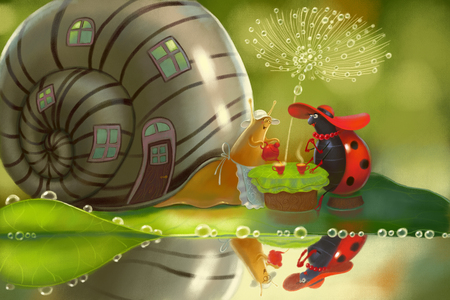 snail with house pours black tea from red teapot to cup for ladybug in red hat. Illustration with hospitality