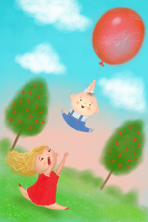 young blonde woman running to catch flying kid with balloon