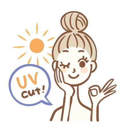 Protector solar mujer sol corte UV Ilustración de vector