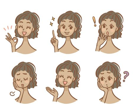 Black Womans Facial Expression Illustration Set