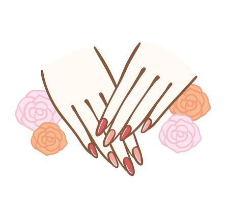 Image illustration of nail art.I drew a rose illustration on the background. Banque d'images - 129195472