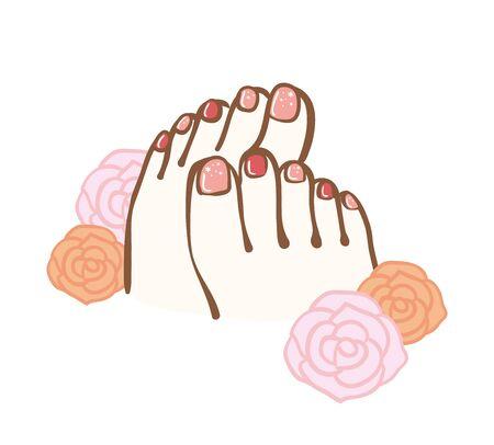Image illustration of foot nail design.I drew a rose illustration on the background.