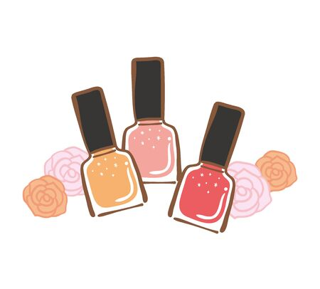 Illustration of colorful manicure