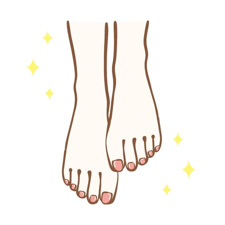 Beautiful feet illustration.Pink pedicure on the nails.