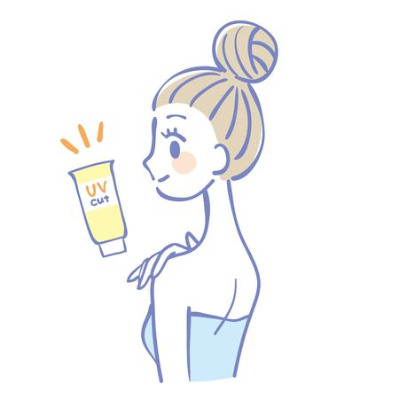 Illustration of a woman painting a sunscreen  イラスト・ベクター素材