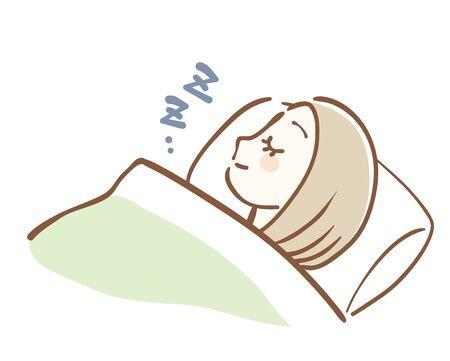 Illustration of a woman sleeping sideways Illustration