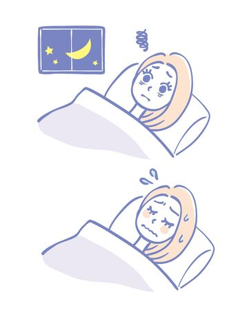 Illustration of a woman who is difficult to sleep