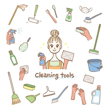 Illustration of housewife with cleaning tools