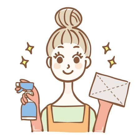 Illustration of housewife cleaning with dust cloth Иллюстрация