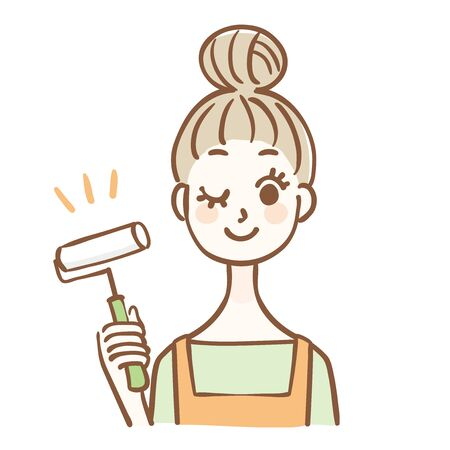 Illustration of a housewife cleaning