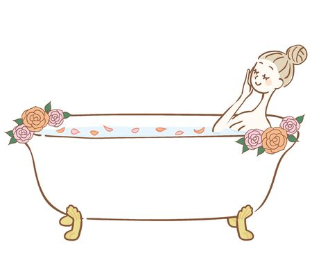 Woman bathing in a bath with rose petals Illustration