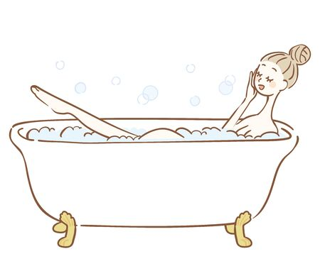Illustration of a woman taking a bubble bath