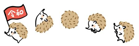 Illustration set of cute hedgehogs.The word leiwa is written in Japanese on the flag.