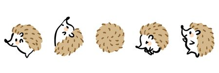 Illustration set of cute hedgehogs.
