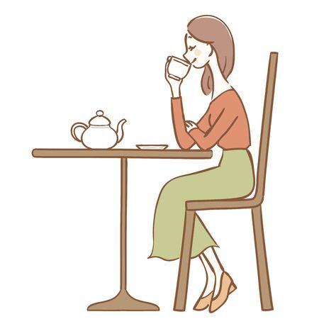 Illustration of a woman drinking tea Çizim