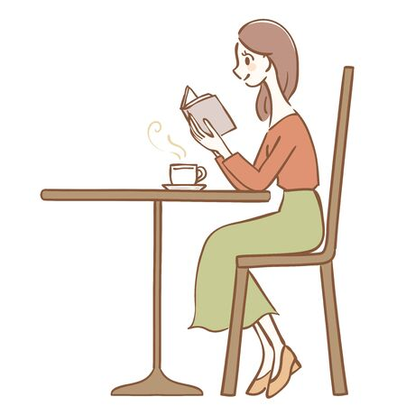 Illustration of a woman reading in a cafe Foto de archivo - 129290188