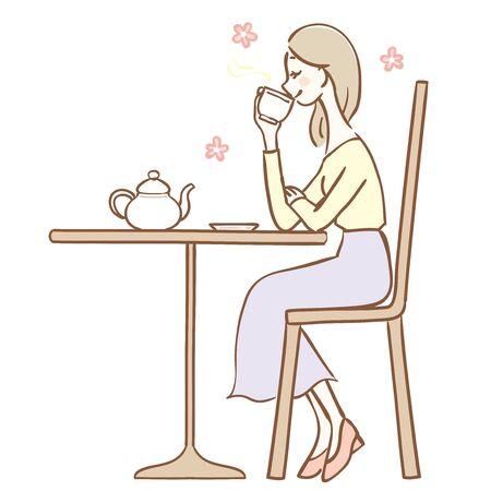 Illustration of a woman drinking tea Иллюстрация