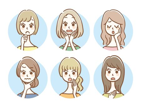 Hand drawn style women icon set