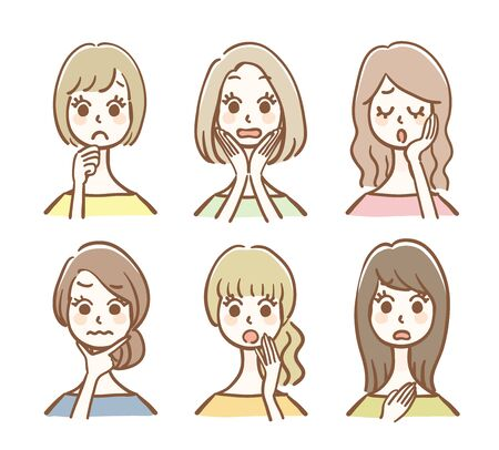 Hand drawn style women icon set