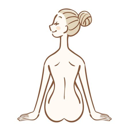 Back view of sitting nude woman Illustration