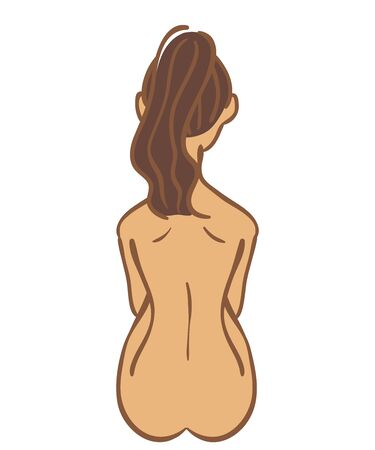 Back view of sitting nude woman Stock Illustratie