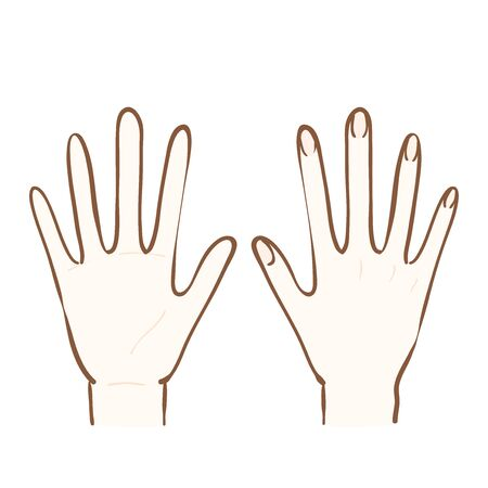 Illustration of palm and back of hand Banque d'images - 129353360