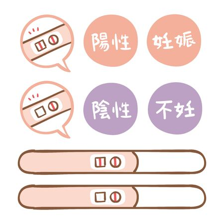 Variations in pregnancy test drugs.In Japanese, the words pregnancy, infertility, positive and negative are written.  イラスト・ベクター素材