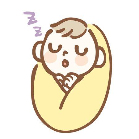 Illustration eines ruhig schlafenden Babys