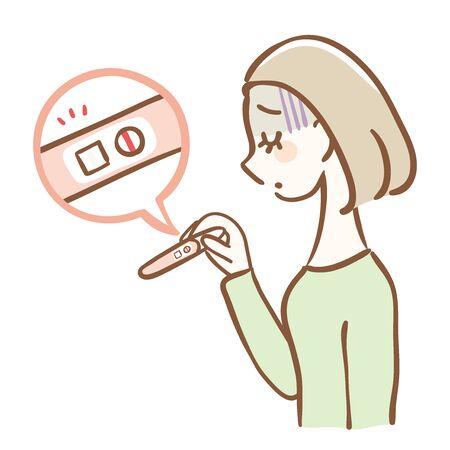 Illustration of a shocked woman diagnosed negative by a pregnancy test. (She wants to get pregnant) Ilustração