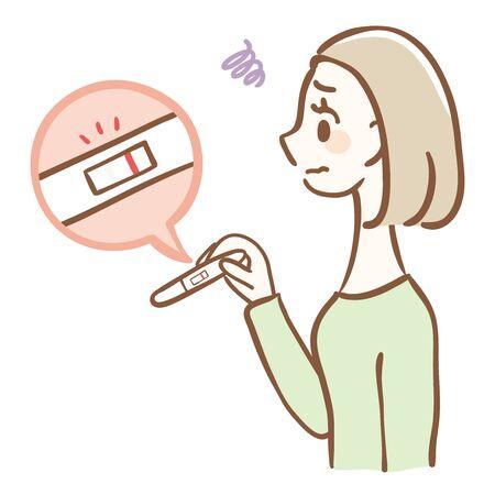 Negative for pregnancy test. Woman struggling to get pregnant Ilustração