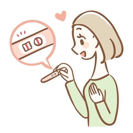 Illustration of a Rejoicing Woman Diagnosed as Positive by Pregnancy Test